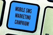 Handwriting Text Mobile Sms Marketing Campaign. Concept Meaning Advertising Communication Promotion  poster