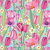 seamless pattern with pink tulips