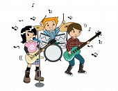 stock photo of drum-set  - Children in a Band with Clipping Path - JPG