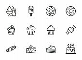 Sweets Line Icon Set. Set Of Line Icons On White Background. Confectionery Concept. Ice-cream, Pie,  poster