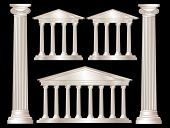 A vector illustration of a classical style white marble temples and pillars. Isolated on black backg