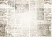 Newspaper With Old Unreadable Text. Vintage Grunge Blurred Paper News Texture Horizontal Background. poster