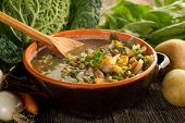image of vegetable soup  - vegetables soup on bowl - JPG