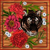 Garden Peonies And Wild Tiger. Template For Design Scarf Or Pillow. Print With Animal And Flowers. W poster