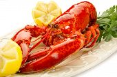 image of lobster tail  - boiled lobster on dish - JPG