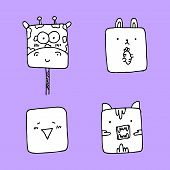 Animals Character Design, Cute Animals Collection, Animals Set. poster
