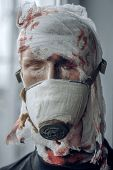 When War Is Over. Dummy Of War Soldier. Dummy Man Wear Gas Mask Against Chemical Attack. War Victim  poster