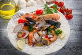 image of norway lobster  - sea salad on dish - JPG