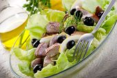 image of yellowfin tuna  - grilled tuna over green salad - JPG