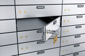 Safe Deposit Boxes With Open One Safe Cell. 3d Rendering. Safe Lockers poster