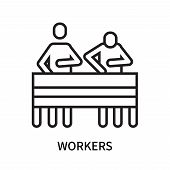 Workers Icon Isolated On White Background. Workers Icon Simple Sign. Workers Icon Trendy And Modern  poster