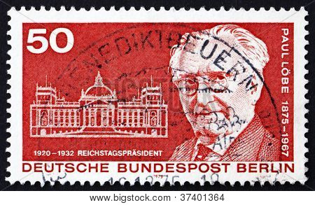 Postage stamp Germany 1975 Paul Lobe and Reichstag