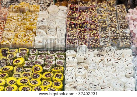 Confectionary At A Market Stall