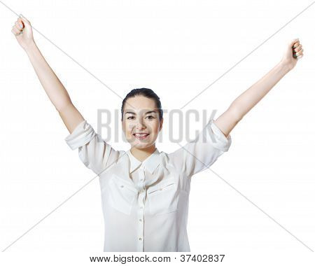 happy woman with raised arms