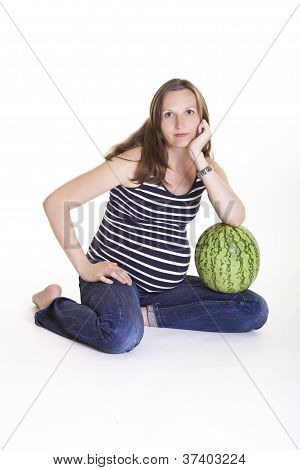 Pregnant Woman With Big Green Watermelon
