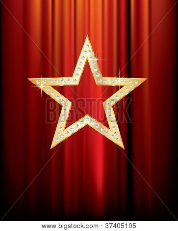 vector transparent golden star with diamonds on red curtain