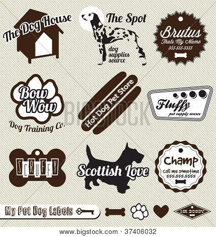 Vector Set: Vintage Dog and Pet Store Labels