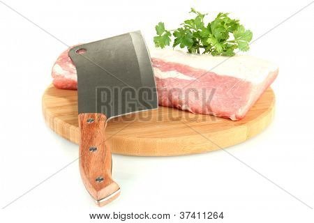 pork with a meat hatchet isolated on white