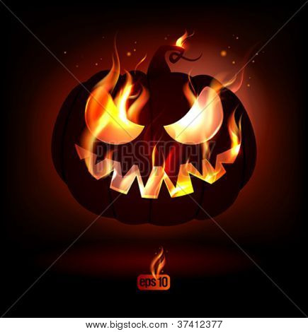 Fiery halloween pumpkin. Eps10 Vector.