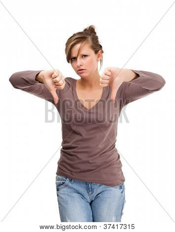 Depressed young attractive woman isolated on white background