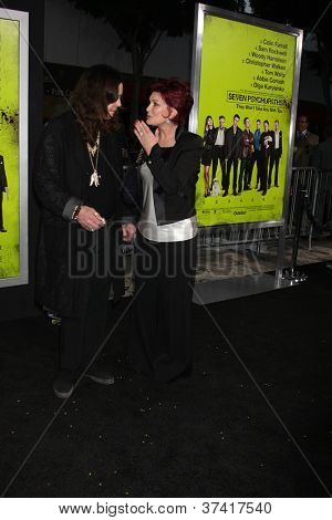 """LOS ANGELES - OCT 30:  Ozzy Osbourne, Sharon Osbourne  at the """"Seven Psychopaths"""" Premiere at Bruin Theater on October 30, 2012 in Westwood, CA"""