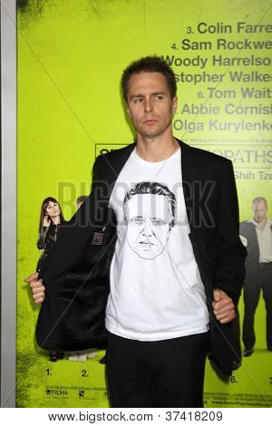 "LOS ANGELES - OCT 30:  Sam Rockwell  at the ""Seven Psychopaths"" Premiere at Bruin Theater on October 30, 2012 in Westwood, CA"