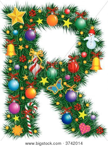 Alphabet Letter R - Christmas Decoration