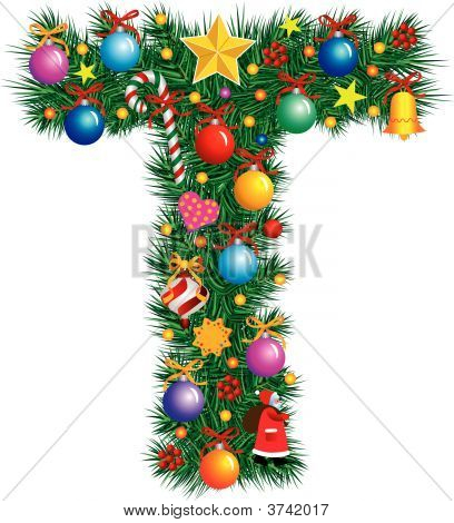 Alphabet Letter T - Christmas Decoration