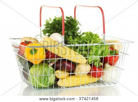 Fresh vegetables in metal basket isolated on white background