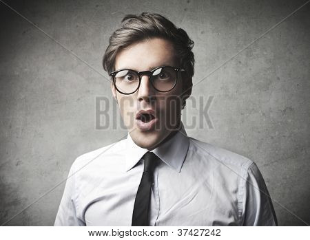 Astonished businessman