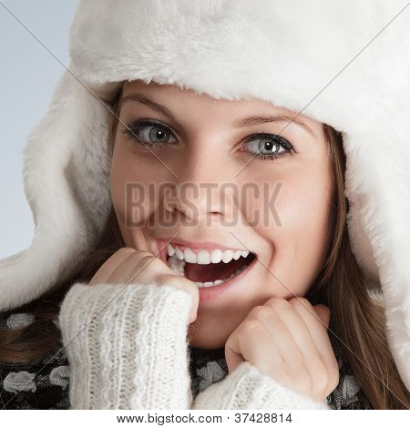 Beautiful Young Woman In White Hat