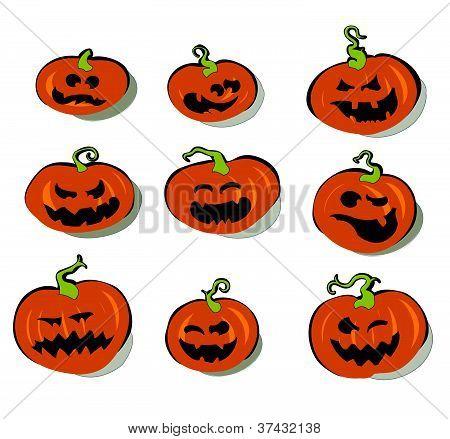 Set Of Halloween Pumpkins