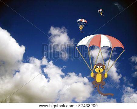 Monkeys With Parachutes In The Sky