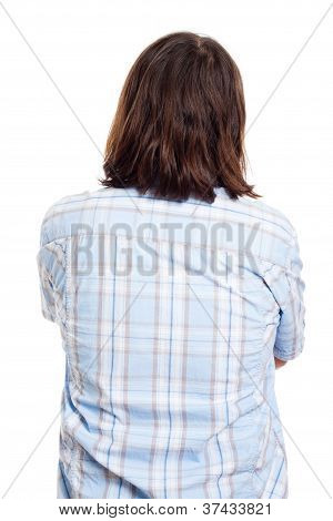 Back Side View Of Long Haired Man