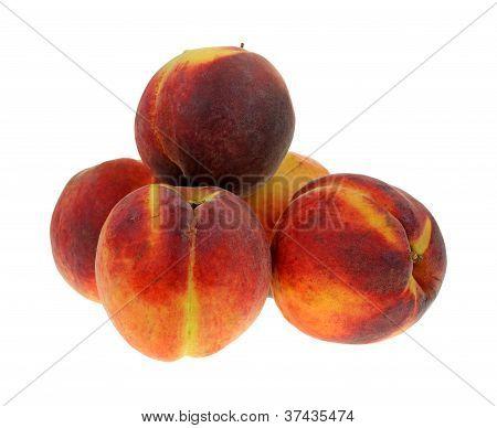 Group Peaches On White