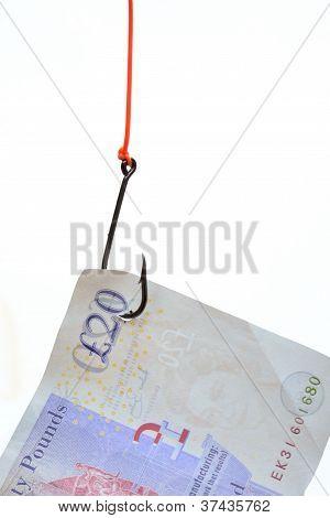 Billete de veinte libras como cebo