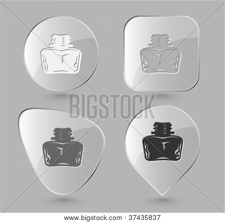 Inkstand. Glass buttons. Raster illustration.