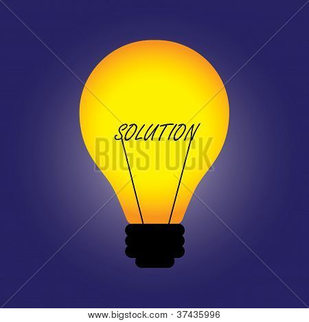 Conceptual Illustration Of Bulb With Filament Replaced By Solution Word. The Graphic Can Also Repres
