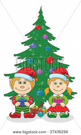 Christmas elves and fir tree