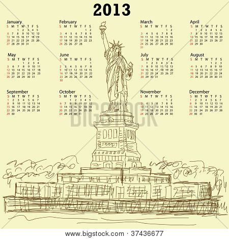 Statue Of Liberty Vintage 2013 Calendar