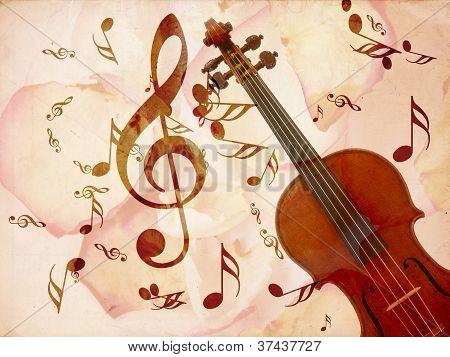 Rose Pentals And Violin