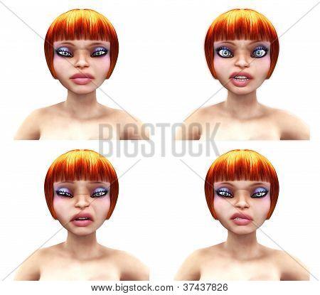 Unhappy Girl Faces