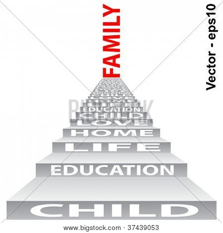 Vector eps concept or conceptual 3D stair or steps isolated on white background as a metaphor for child,family,education,life,home,love and for school,learn,wisdom,success,teach or achievement