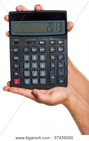 Man hand with calculator isolated on white background
