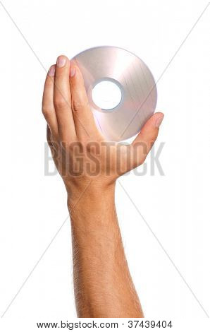 Man hand with compact disc isolated on white background