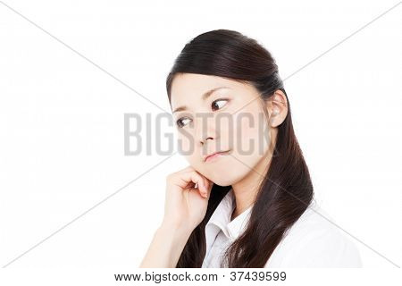 Beautiful young business woman thinking. Portrait of asian.