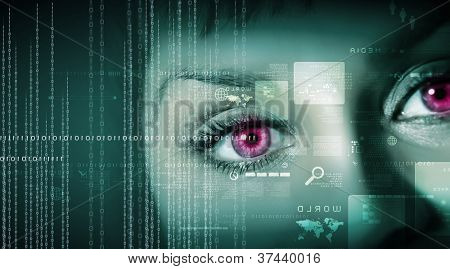 Eye viewing digital information represented by ones and zeros
