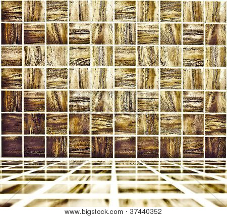 Background of golden mosaic interior, spacious vintage room with stone and glass tiled wall and floor