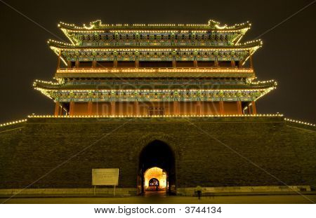 Qianmen Zhengyang Gate Wide Tiananmen Square Beijing China Night