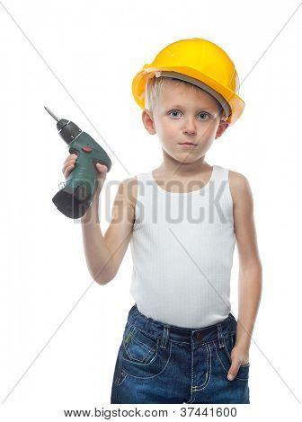 cute boy  in helmet on white background